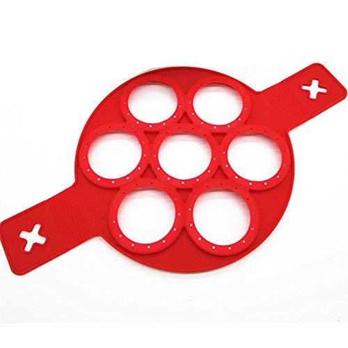 Non-stick Silikon (POAO Kuchenform Nonstick,Silikon Ei Ring Pfannkuchen Form 7er Runde,Fast&Einfache Möglichkeit Perfekte Ring Pancakes)