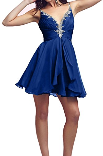 Victory Bridal 2016 Neu Rot Spaghetti-traeger Cocktailkleider Promkleider Partykleider Mini mit Steine Chiffon Royal Blau