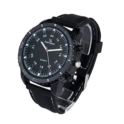 1b4fe439fa8a Yivise Hombres Mujeres Reloj Deportivo de Lujo Reloj de Cuero Militar al  Aire Libre Ronda Dial Cuarzo Indicador Unisex Reloj de Pulsera