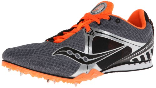 Saucony Damen Herren Velocity 5Running Spike, Grau/Orange - Größe: 47.5 EU Herren Orange Herren Track Spikes