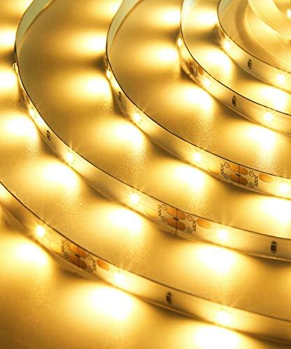 LED Streifen Dimmbar, 10m Warmweiß LED Strip Set, 3000K Warmweiss 300 SMD 2835 LEDs mit Netzteil, 12V LED Beleuchtung Licht Lichtband Selbstklebend für Deko Küche Kinderzimmer