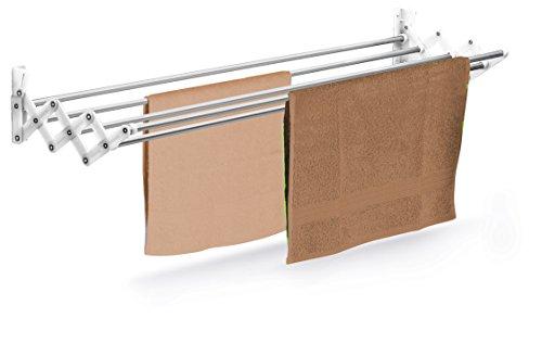 Casabriko 31110 stendibiancheria a soffietto, inox e nylon, bianco, 100 cm