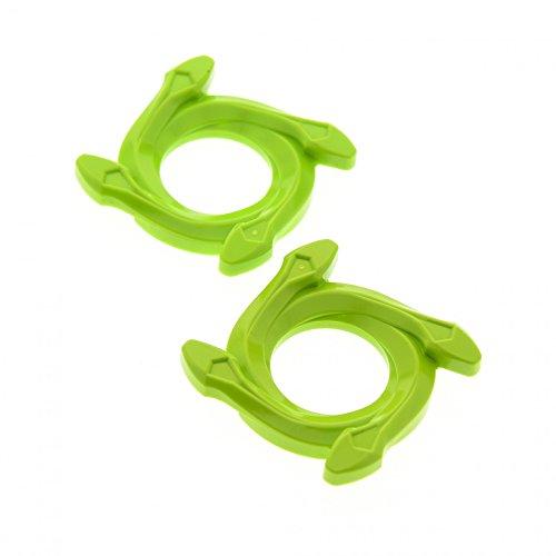 2 x Lego System Ninjago Spinner Ring Krone 4x4 lime hell grün 4 Schlangen Kopf Radkappen Set 9445 9443 98342