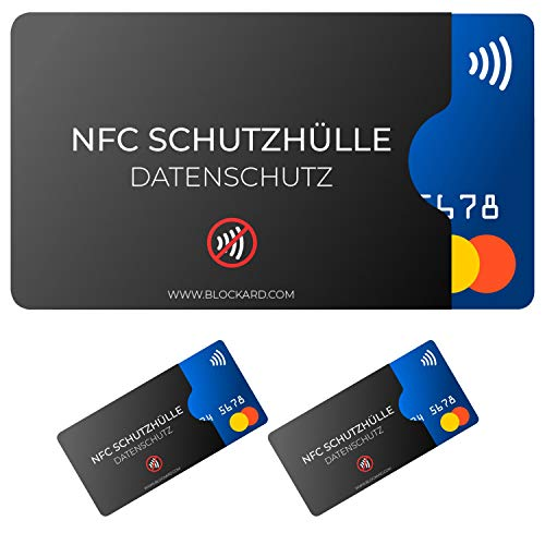 NFC Schutzhülle (3 Stück) BLOCKARD aus Kunststoff für Kreditkarte Personalausweis EC-Karte Bankkarte Ausweis - 100% Schutz vor unerlaubtem Auslesen - Kreditkarten RFID Blocker Plastik Schutz-Hülle (Schwarz Leichter Kunststoff)