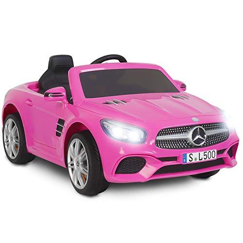Uenjoy 12V Licensed Mercedes-Benz SL500 Kids Ride On Car Electric Cars for Kids w/Remote Control & Music & Spring Suspension & Safety Lock,Pink
