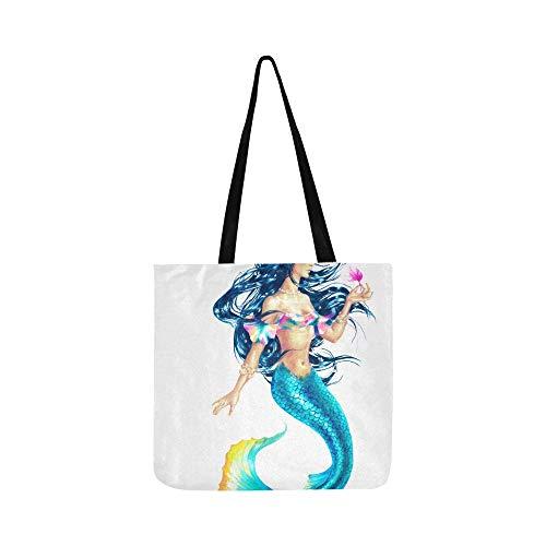 Schöne glänzende fantasty meerjungfrauen leinwand tote handtasche umhängetasche crossbody taschen geldbörsen für männer und frauen einkaufen tote -