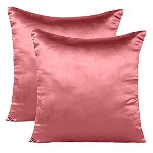 Soft and Comfortable Silky Satin Silk Pillowcase Pillow Case Cover for Hair & Skin Home Decor (Cushion Cover Sugar Coral, 18 x 18)