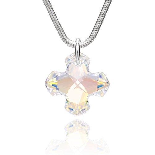 LillyMarie Damen Hals-Silberkette Silber 925 Swarovski Elements Kreuz-Anhänger Crystal Längen-verstellbar Geschenkverpackung Kleine Geschenke für Frauen