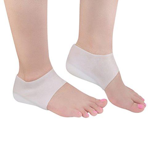 SUPVOX 1 Paar Silikon-Fersensockenschutz mit Gel-Fersenärmeln zur Reparatur trockener, rissiger Fersen und Linderung von Schmerzen bei Plantarfasziitis (weiß) -