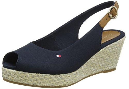 Tommy Hilfiger Damen Iconic Elba Basic Sling Back Espadrilles, Blau (Midnight 403), 38 - Frauen Sandalen Wedges Schuhe