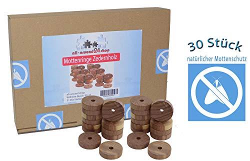 all-around24 30 Stück Mottenschutz aus Zedernholz,Mottenringe Mottenkugeln Bügelringe gegen Motten (30 St.) -