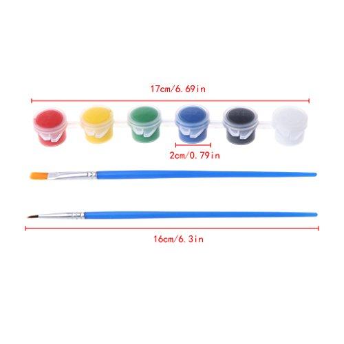 Acrylfarbenset, 6 Farben, Acrylfarben mit 2 Pinseln für Nagelkunst, Wand-Ölgemälde
