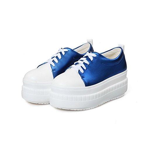 VogueZone009 Femme Fermeture D'Orteil Rond à Talon Correct Lacet Couleurs Mélangées Chaussures Légeres Bleu
