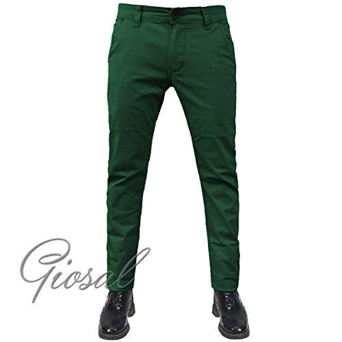 Pantalone Uomo Tasca America Chino Slim Cotone Elastico Bottone Zip Colori Vari GIOSAL Verde