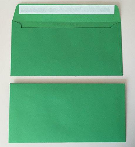 50 Umschläge, Grün, Grasgrün, DIN lang = 220 x 110 mm, Haftklebestreifen