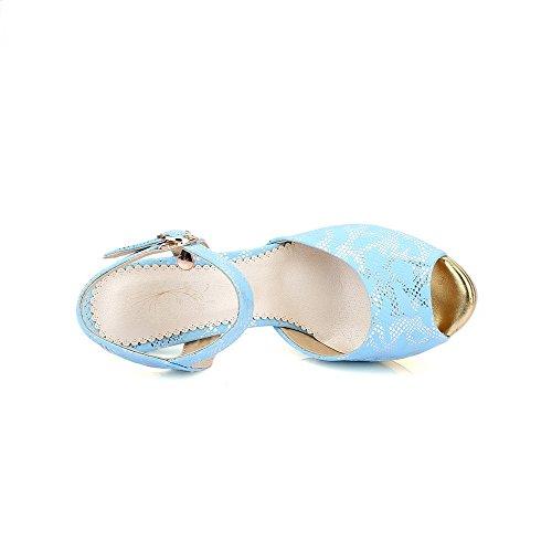 VogueZone009 Femme Boucle Ouverture Petite à Talon Haut Pu Cuir Sandales à Talons Hauts Bleu