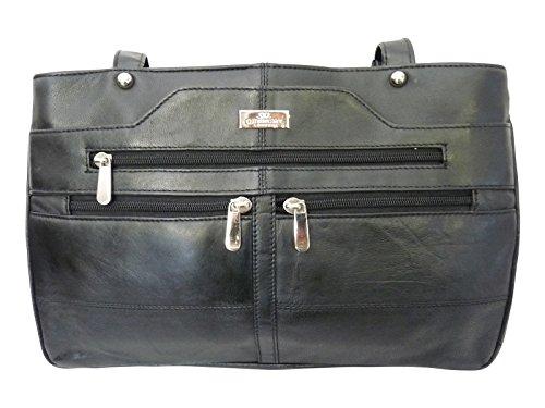 Quenchy london borsa a mano da donna in pelle morbida nera - borsas a spalla con 2 manici - 9 tasche, scomparto per ombrello - 3 scomparti grandi - shopper di dimensione media - ql172
