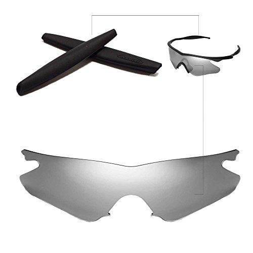 Walleva Wechselgläser Und Earsocks für Oakley M Frame Heater Sonnenbrille - Mehrfache Optionen (Titanium Linsen + Schwarzer Gummi)