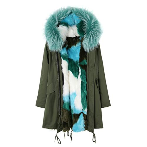 DLT Frauen himmlisch Lange Kunstpelz Kapuze Parka Jacke Mantel Mantel, abnehmbare Kunstpelz Liner, knielangen Winterkleidung Polyester-Stoff, grün (Size : M) -