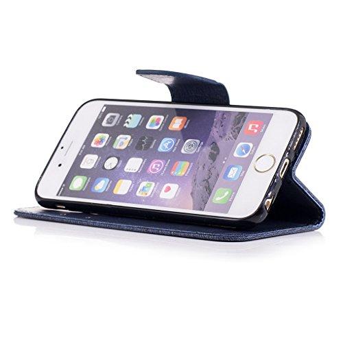 iPhone 6 6S (4.7 inch) Custodia, SATURCASE Bella Farfalla Goffratura Pelle Sintetica Flip Magnetico Portafoglio Supporto [Slot per Schede] Protettivo Caso Case Custodia Cover per Apple iPhone 6 6S (4. Blu Navy