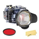 SeaFrogs Unterwasser-Kamera-Gehäuse, mit Fischaugenobjektiv, Kuppelanschluss und rotem Filterset,...