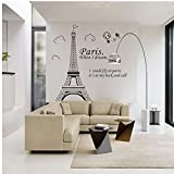 Stickers muraux Citation - 1 Piece Paris Tour Eiffel Autocollants Citations Art Vinyl Decal Affiche Accueil Chambre Wall Sticker Décorations