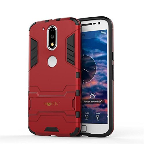 Heartly Graphic Designed Kick Stand Hard Dual Rugged Armor Hybrid Bumper Back Case Cover For Motorola Moto G Plus 4th Gen / Moto G4 Plus / Moto G4 - Hot Red