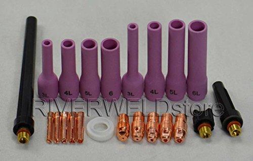 22pcs TIG Collet Body Long Alumina Nozzle Retour Cap TIG torche de soudage DB SR WP 9 20 25