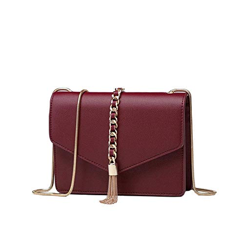 DHINGM Neue Goldkette kleine quadratische Tasche Damen Umhängetasche Mode Diagonale Cross Bag, Leder Diagonale Handtasche, hochwertige Top Schicht Rindsleder, schönes Aussehen, schön, langlebig (20 *