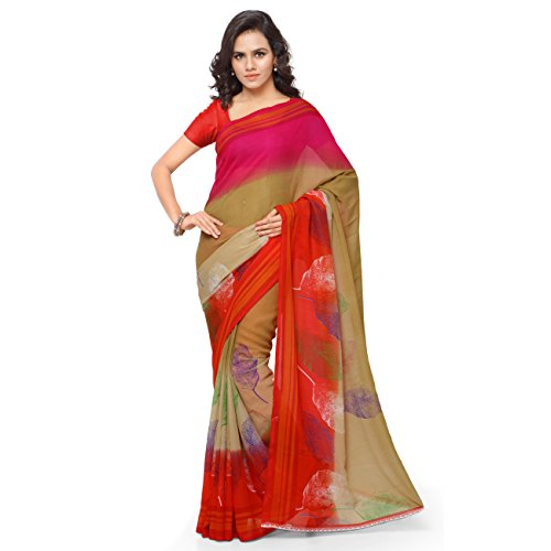 Triveni Women's Beige Faux Georgette Printed Casual Wear Saree  available at amazon for Rs.369