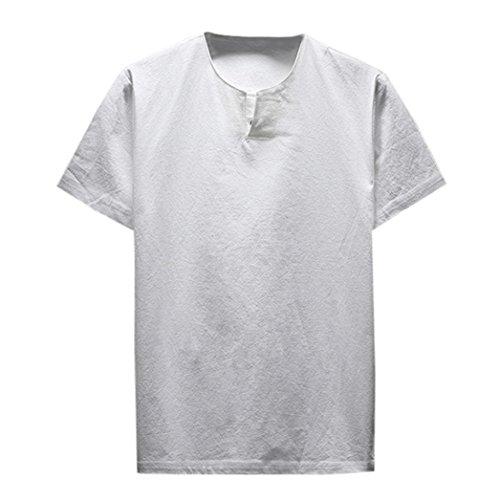 ASHOP Herren Sommer Kurzarm Bequeme Leinen Soft Solid Bluse T-Shirt Top (XXL, Weiß)