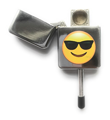 MSC Pfeife mit Emoji-Design, diskret, Design: fröhliches Gesicht mit lässiger Sonnenbrille, Tabakpfeife inklusive 5 Stahl-Pfeifensieben, aluminium, Coolface, 1 Packung