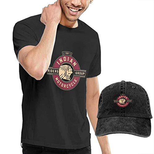 AOCCK Herren Kurzarmshirt Personalized Indian Motorcycle Riders Group Logo Tshirts with Hats for Mens 100% Cotton O-Neck Black - Indian Motorcycle T-shirt