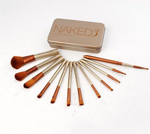 12 pcs Pinceaux de maquillage Fond de teint poudre Crème sourcils Eyeliner Blush Brosse Cosmétique