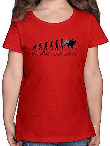 Evolution Kind - Freizeitreiten Ausreiten Reiten Evolution - 152 (12/13 Jahre) - Rot - F131K - Mädchen Kinder T-Shirt