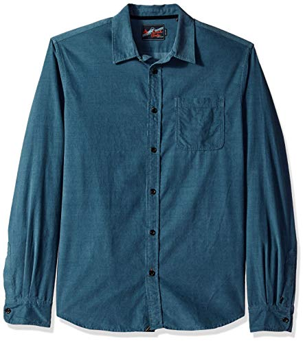 Scotch & Soda Herren Relaxed Fit Corduroy Shirt with Chest Pocket Button Down Hemd, Stahl, X-Groß -