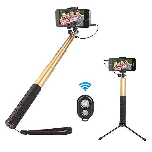 Bluetooth selfie stick, Eloki 3in 1mini treppiede allungabile a 360° di rotazione tasca selfie stick con telecomando, adatto per iPhone, Samsung Galaxy, Nexus and more–oro