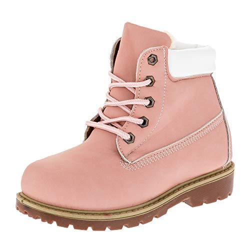 WS Classic Boots für Jungen und Mädchen Unisex Stiefel Reißverschluss Schnürsenkel M444rsws Rosa Weiß 29 EU