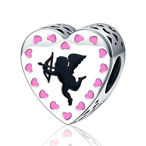 Amor Romantik Charm-Armband mit Amorid's Love Amor Pfeil rosa Herz-Perlen für Charm-Armband Schmuck Liebhaber Geschenk