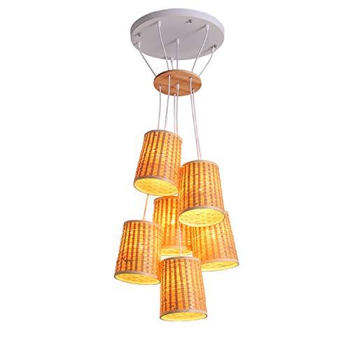 BIZHUAN Gras Rebe Kronleuchter Restaurant Lampe natürliche handgewebte Neue chinesische Stil Wohn Schlafzimmer Decke Lampe kreative Wohnzimmer Weide hängende Lichter -