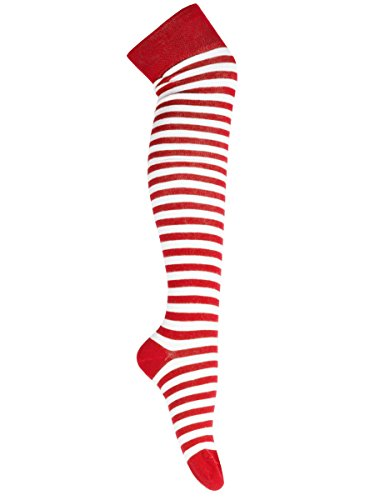 Weiße Socken Und Kostüm Gestreifte Rote - Goldschmidt Kostüme Overknees Strümpfe gestreift oder Uni gekämmte Baumwolle OneSize (rot weiß)