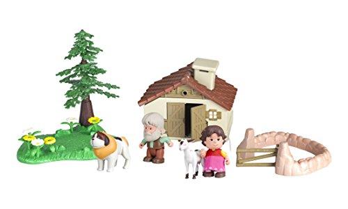 Famosa 700012781 - Heidi Spielwelt inklusiv Haus, Geländeteile und Figuren, 7 cm