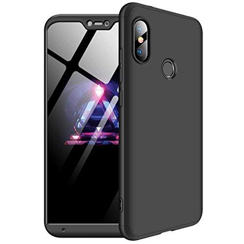 MYLBOO Xiaomi Mi A2 Lite Hülle, [3 in 1] 360 Grad Ganzkörperschutz,[Anti-Scratch] [Stoßfest] Matte Ultra Slim PC Hard Case für Xiaomi Mi A2 Lite (Schwarz) (Schutzfolie Nicht enthalten)