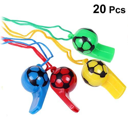 BESTOYARD 20 Stück Kunststoff-Fußballpfeifen bunt Cheerleading Schiedsrichterpfeife mit Seil Kinder Spielzeug für Sport Outdoor Aktivitäten (zufällige Farbe)