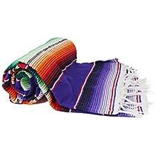 Tlaxcala Messico Indianer soffitto L messicano serapes soffitto L flasa Yoga coperta da picnic filata a mano l 50% acrilico 50% cotone L Dimensione: 220cm di lunghezza x 150cm di larghezza, 20178-9001-001, 220 x 150cm