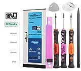 Akku Für iPhone 6 Großkapazität - 2200mAh/3,82V Ersatzakku Trop Saint® mit Werkzeug, Sticker und Panzerglas