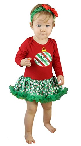 Cane Rote Kostüme (My 1st Christmas Dress Candy Cane Red L/s Bodysuit Santa Tutu Baby Romper Nb-18m (12-18)