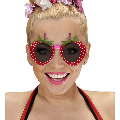 Amakando Lustige Sonnenbrille Erdbeere / Rot-Grün / Partybrille für Erwachsene / EIN Blickfang zu 60er-Party & Schlagermove