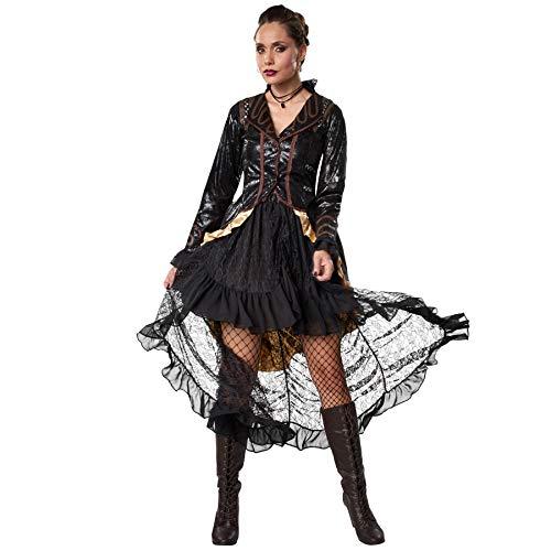 dressforfun 900489 - Disfraz de Mujer Rebelde Steampunk, Atuendo de Dos Piezas en Colores Oscuros (L | No. 302327)