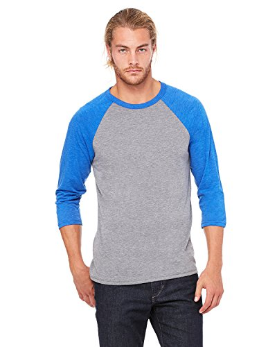 Delifhted Adult 3/4 Sleeve Blended Baseball Tee Grey / True Royal Triblend